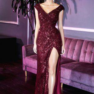V-Neck Glittered Leg Dlit Prom Dress CDCH198C